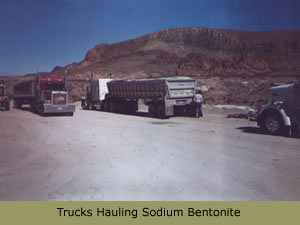 Trucks hauling sodium bentonite